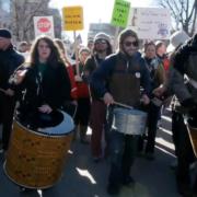 movie - drumline at Wisconsin protest